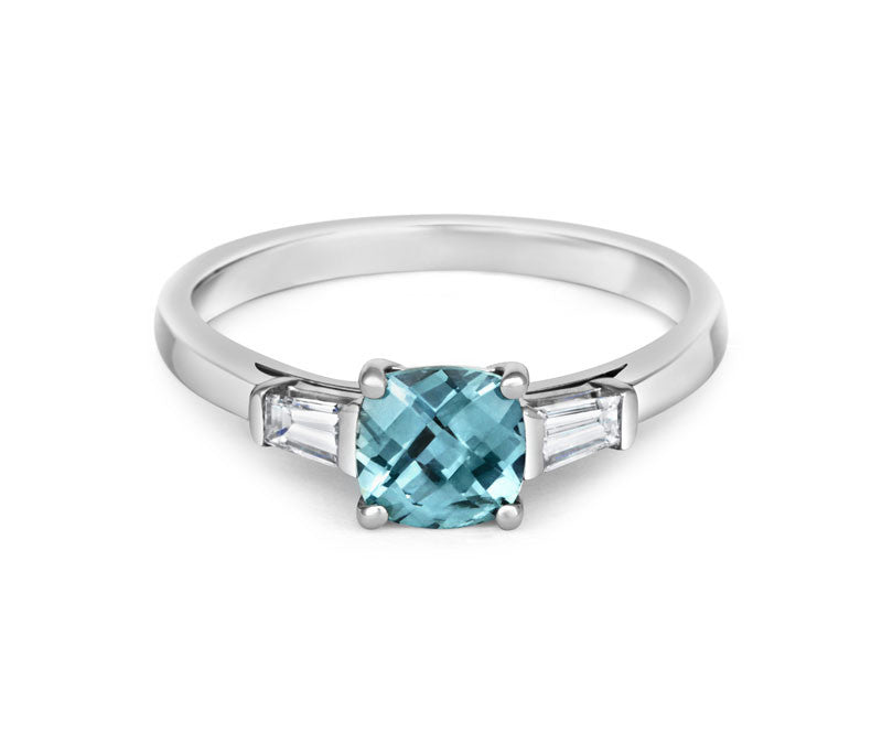 Teal Sapphire and Diamond Cushion Cut Trilogy Ring - CRED Jewellery - Fairtrade Jewellery - 2