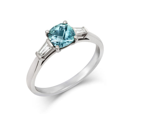 Teal Sapphire and Diamond Cushion Cut Trilogy Ring