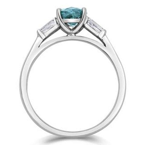 Teal Sapphire and Diamond Cushion Cut Trilogy Engagement Ring