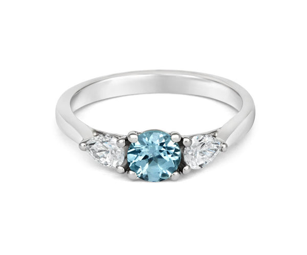 Teal Sapphire & Pear Diamond Trilogy - CRED Jewellery - Fairtrade Jewellery - 2