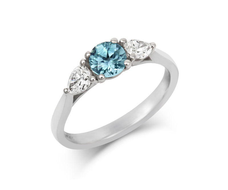 Teal Sapphire & Pear Diamond Trilogy - CRED Jewellery - Fairtrade Jewellery - 1