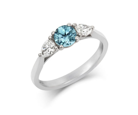 Anise Round Teal Sapphire & Pear Diamond Trilogy Engagement Ring
