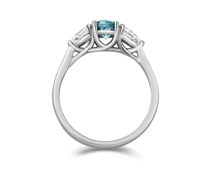 Teal Sapphire & Pear Diamond Trilogy - CRED Jewellery - Fairtrade Jewellery - 3