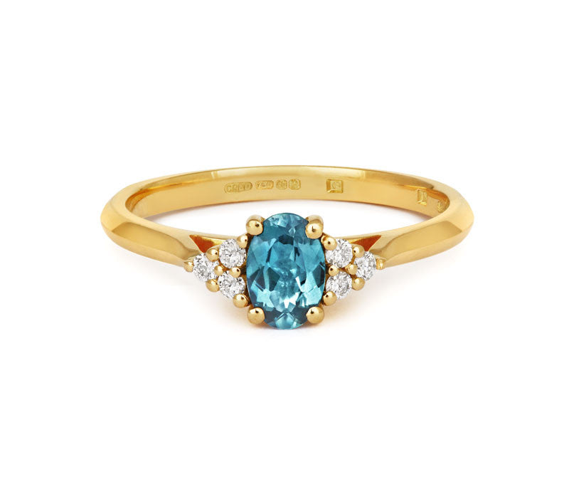 Oval Teal Sapphire & Diamond Trilogy - CRED Jewellery - Fairtrade Jewellery - 1