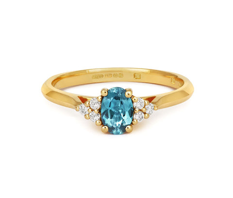 Oval Teal Sapphire & Diamond Trilogy
