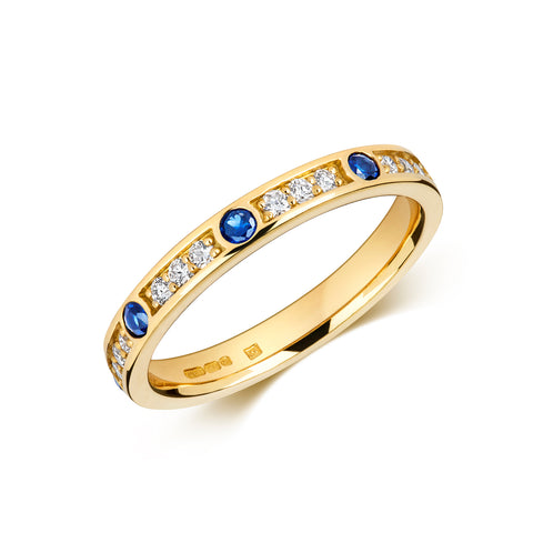 Sapphire and Diamond Eternity/Wedding Ring - (18ct) Yellow, White or Rose Gold