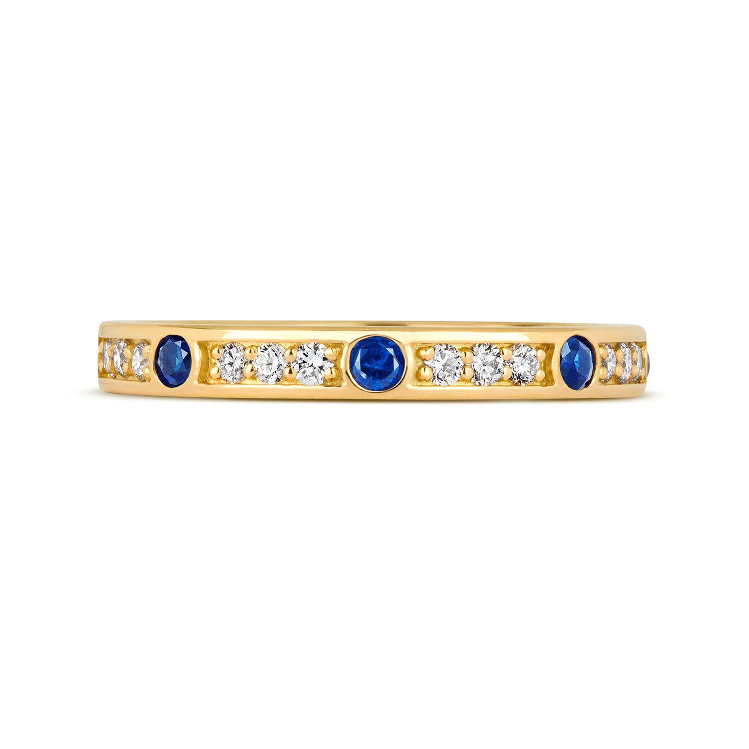CORINA Sapphire and Diamond Eternity/Wedding Ring - (18ct) Yellow, White or Rose Gold