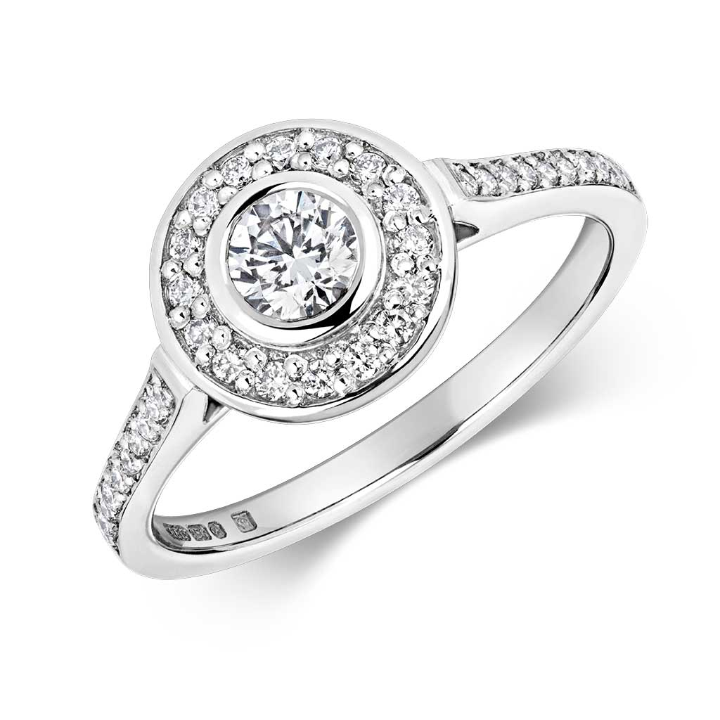 Zakiya - Rubover Halo Cluster 0.54ct Lab Grown Diamond Engagement Ring
