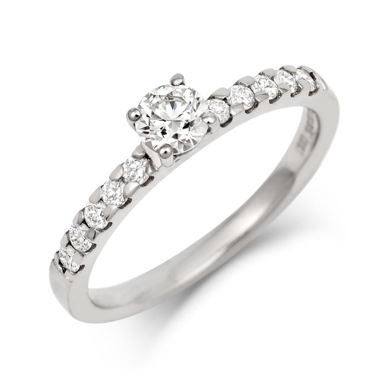0.3ct Brilliant Solitaire Ethical Diamond Engagement Ring with Diamond Set Band - CRED Jewellery - Fairtrade Jewellery - 1