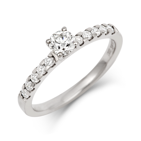 Brilliant Cut Ethical 0.3ct Solitaire Diamond Engagement Ring with Diamond Set Band