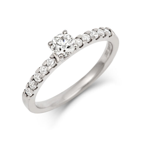 Brilliant Cut Ethical 0.5ct Solitaire Diamond Engagement Ring with Diamond Set Band