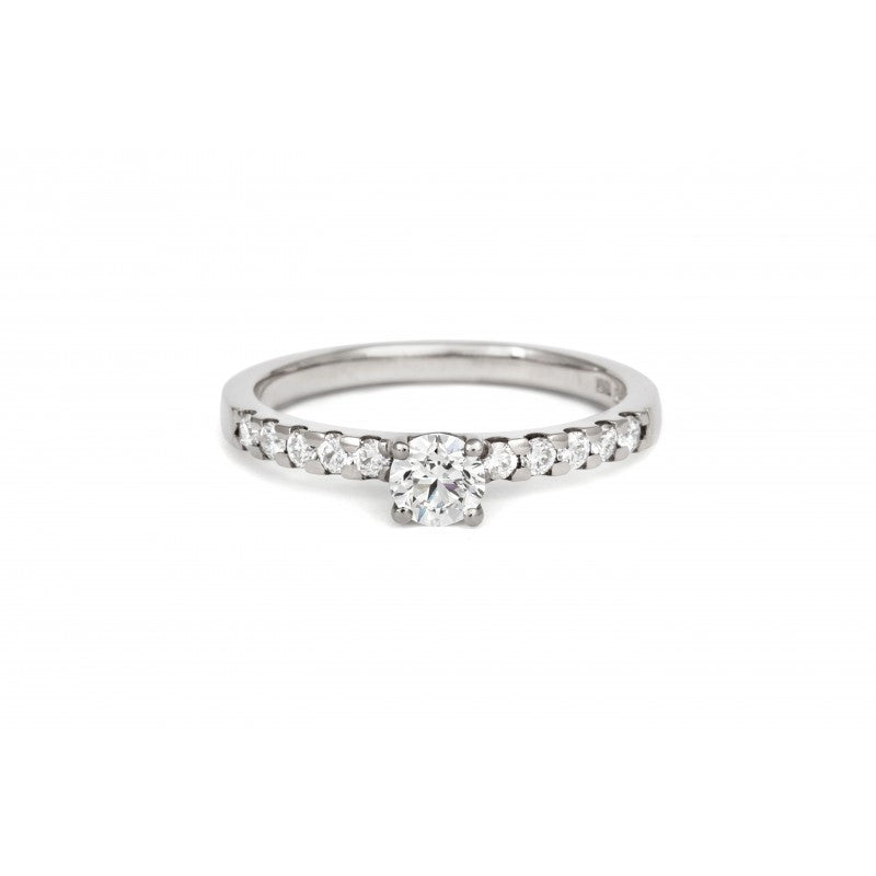 0.5ct Brilliant Ethical Solitaire Diamond Engagement Ring with Diamond Set Band - CRED Jewellery - Fairtrade Jewellery - 2
