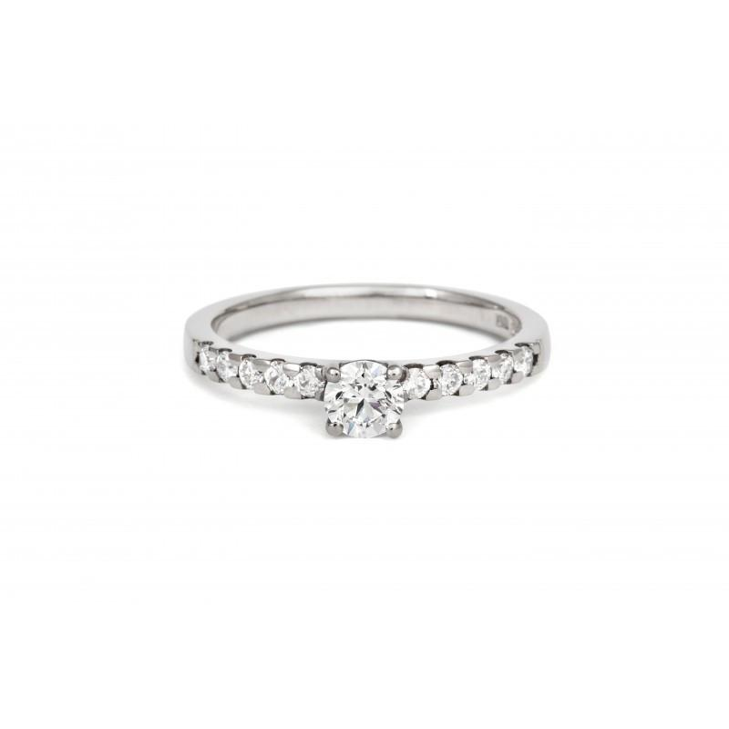 1ct Brilliant Solitaire Ethical Diamond Enagagement Ring with Diamond Set Band - CRED Jewellery - Fairtrade Jewellery - 3