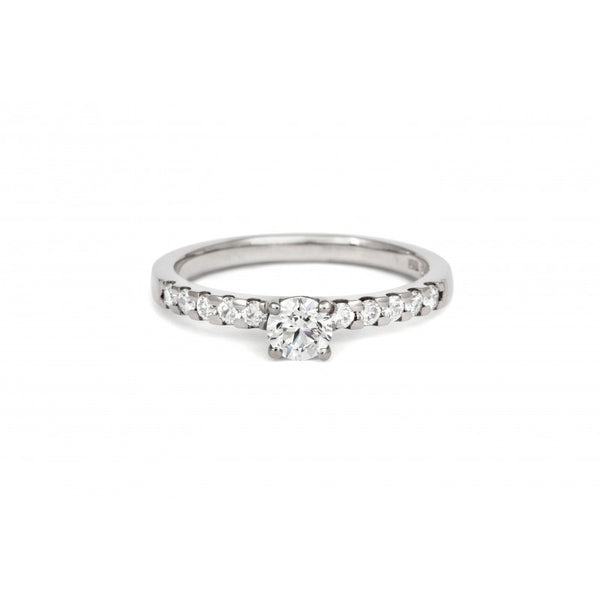 0.3ct Brilliant Solitaire Ethical Diamond Engagement Ring with Diamond Set Band - CRED Jewellery - Fairtrade Jewellery - 2