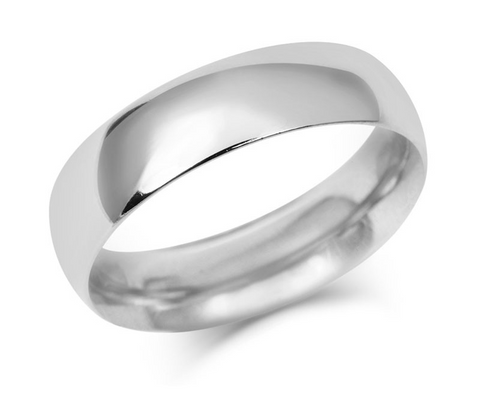 Men's Simple Court Wedding Ring- Fine Weight-(9ct) White Gold