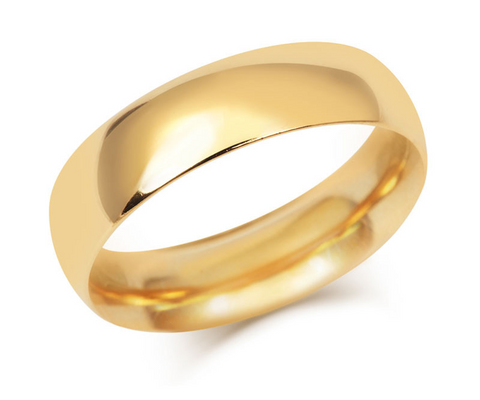 Men's Simple Court Wedding Ring- Fine Weight-(18ct) Yellow Gold