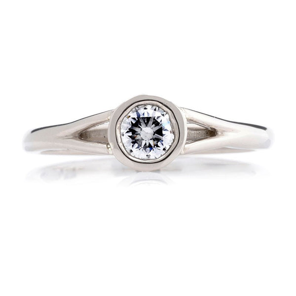 Embossed Bezel Diamond Engagement Ring - CRED Jewellery - Fairtrade Jewellery - 3