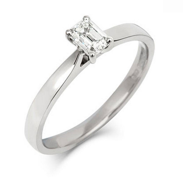 Emerald Cut Diamond Solitaire Ethical Engagement Ring - CRED Jewellery - Fairtrade Jewellery - 1