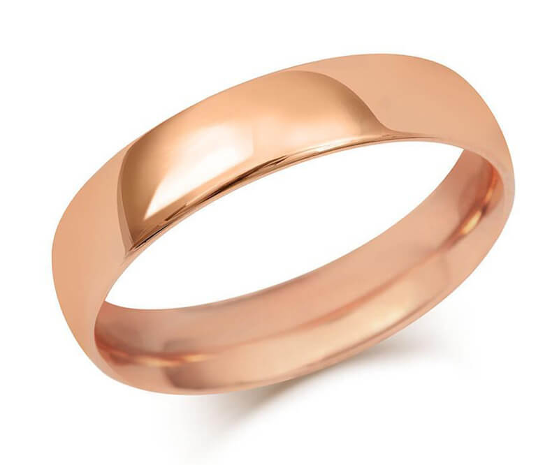 Gents Heavy Weight Court Wedding Ring - Rose Gold (18ct)
