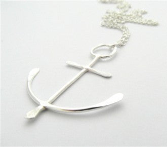 Large Silver Anchor Necklace