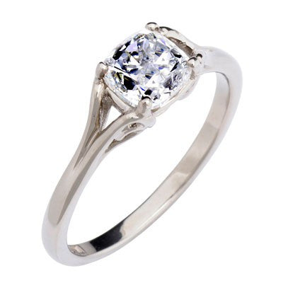 1ct Vintage Cushion-cut diamond ring