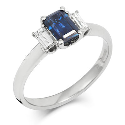 Sapphire Emerald Cut Trilogy with Diamonds Engagement Ring