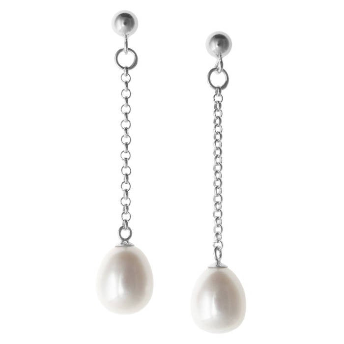 Single Chain Oval Pearl Drop Earrings - CRED Jewellery - Fairtrade Jewellery