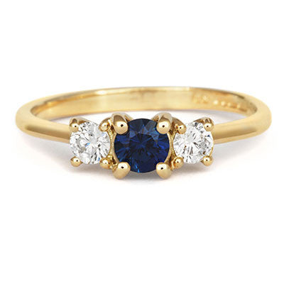Blue Sapphire Trilogy Ring - CRED Jewellery - Fairtrade Jewellery - 4