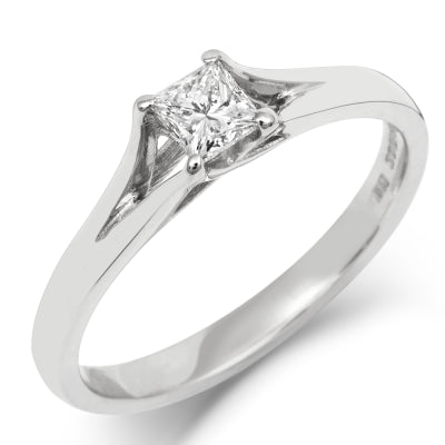 0.5ct Princess Cut Enfold Ethical Solitaire Diamond Engagement Ring