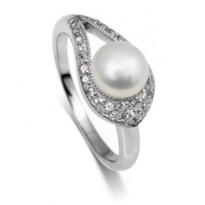 Pearl & Topaz Ribbon  Ring - CRED Jewellery - Fairtrade Jewellery - 1