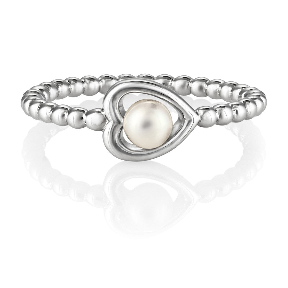 Aphrodite Heart Jersey Pearl Ring - CRED Jewellery - Fairtrade Jewellery - 1