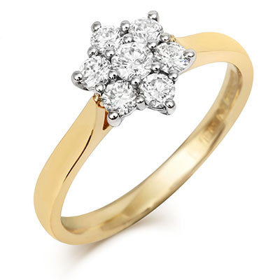Brilliant Cut 7 Diamond Cluster Ring - CRED Jewellery - Fairtrade Jewellery - 2