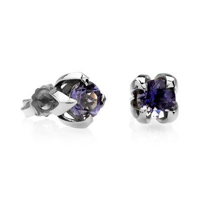 Iolite Fleur stud earrings