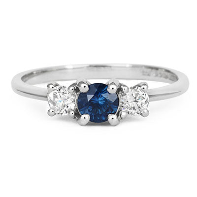 Blue Sapphire Trilogy Ring - CRED Jewellery - Fairtrade Jewellery - 3