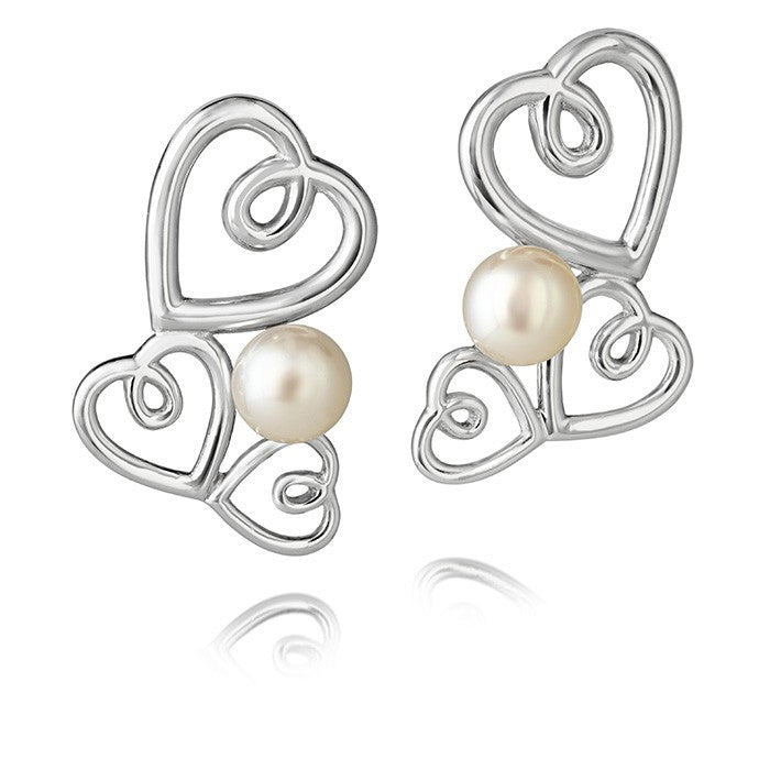 Aphrodite Heart Pearl Cluster Earrings - CRED Jewellery - Fairtrade Jewellery