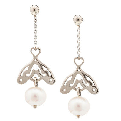 Scrolled pearl drop earrings