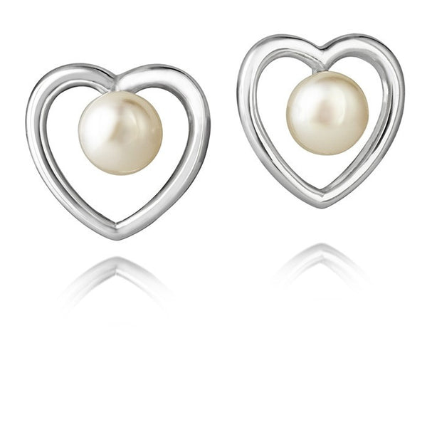 Aphrodite Heart Jersey Pearl Simple Studs - CRED Jewellery - Fairtrade Jewellery
