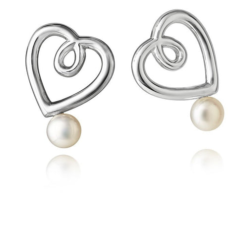 Aphrodite Heart Jersey Pearl Drop Earrings