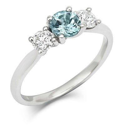 Teal Sapphire and Diamond Trilogy Engagement Ring