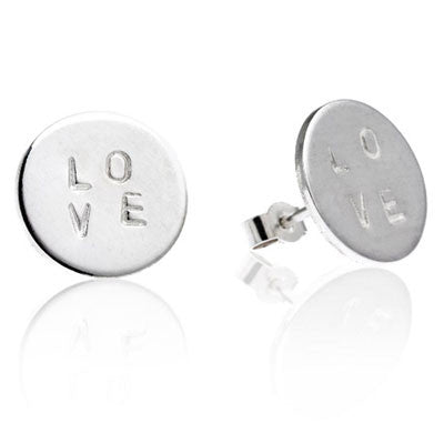 Love Stamp Stud Earrings