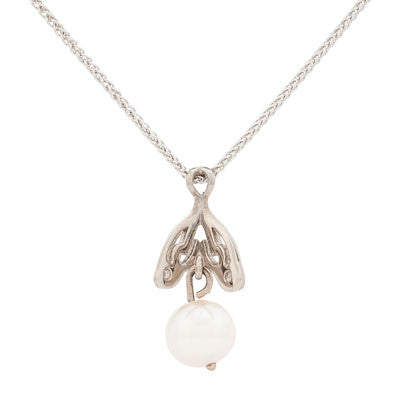Scrolled Pendant with Pearl Drop
