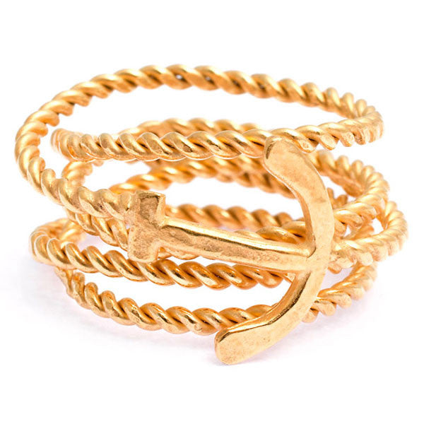 Anchor & Rope Wrap Ring - CRED Jewellery - Fairtrade Jewellery