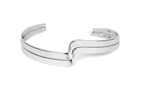 Wide Step Silver Bangle