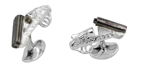 Engraved Cocked Shotgun Cufflinks