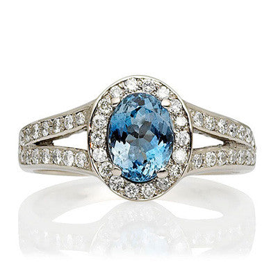 Afro Ethical Aquamarine and Diamond Cocktail Ring