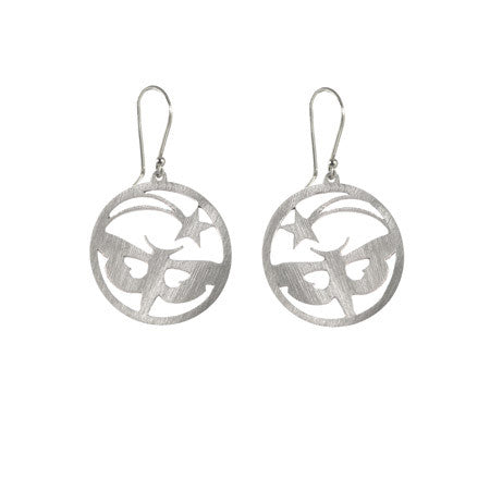 Round Star and Moth Drop Earrings