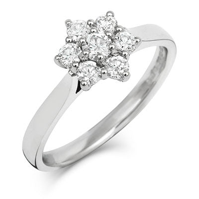 Brilliant Cut 7 Diamond Cluster Ring - CRED Jewellery - Fairtrade Jewellery - 1