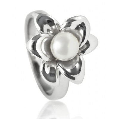 White Lily Pearl Ring - CRED Jewellery - Fairtrade Jewellery