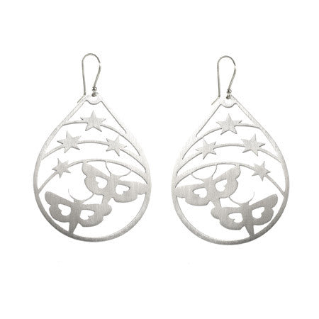 Teardrop Star and Moth Drop Earrings - CRED Jewellery - Fairtrade Jewellery