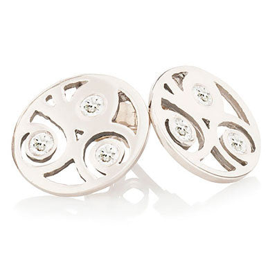 Scrolled Studs with Diamonds - CRED Jewellery - Fairtrade Jewellery